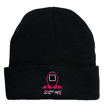 Squid game korean drama knitted hat printed fits cap warm christmas gift