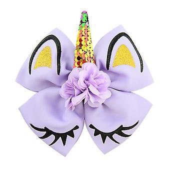 Kids Girls 8 Inch Coloured Sequin Unicorn Bow Hair Clip Hairpin