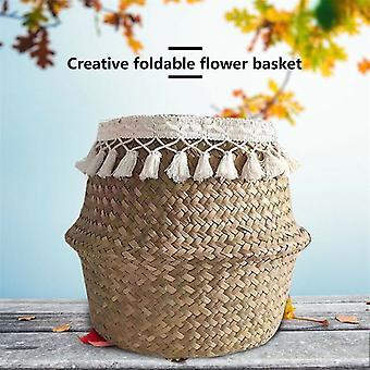 Panier de rangement pliant en cane Pot de fleurs en osier Algues Plantes de jardin