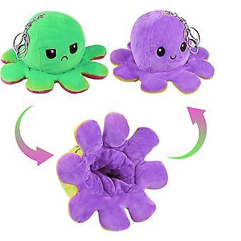 リバーシブルタコぬいぐるみキーチェーンキッズ女性の女の子の男の子、紫と緑のためのバックパックのためのかわいいパーソナライズされたキーチェーン