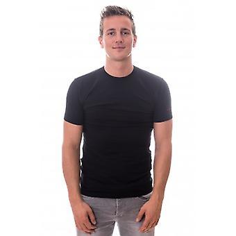 Cali T-shirt runder Hals schwarz Stretch Twopack (CL-1021)