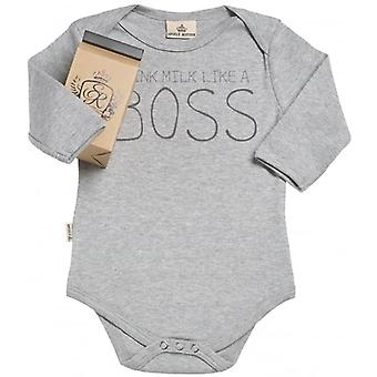 Spoilt Rotten I Am The Boss Long Sleeve Organic Baby Grow In Gift Milk Carton