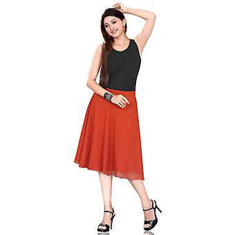 Pleated A-Line Womens Skirt, Orange
