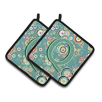 Letter Q Circle Circle Teal Initial Alphabet Pair of Pot Holders