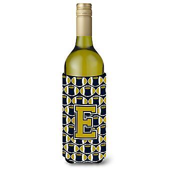 Letter E Football Blue and Gold Wine Bottle Beverage Insulator Hugger