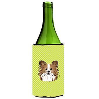 Checkerboard Lime Green Papillon Wine Bottle Beverage Insulator Hugger