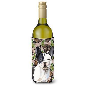 Preto branco francês Bulldog pinho Cones garrafa de vinho Beverge isolador Hugger