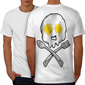 卵スカル ファニージョーク男性ホワイトTシャツ バック|ウェルコダ