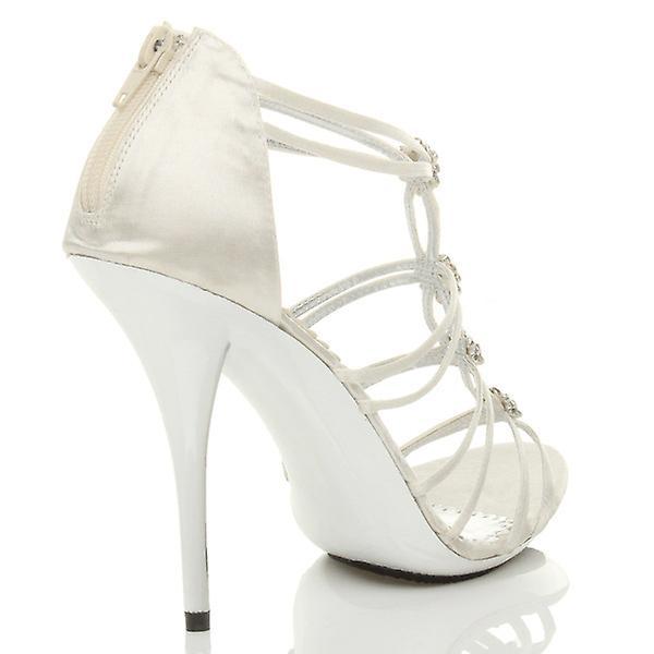 Ajvani womens high metal heel strappy diamante evening wedding prom sandals