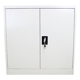 Metal Office 2 Doors Filing Cabinet Flatpack Document File Lockable Storage Unit 90cm
