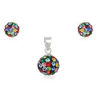 Parure Pendentif et Boucles d'Oreilles en Cristal Multicolor et Argent 925 2362