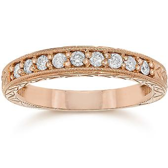 1 / 4ct incisa Diamond Ring 14k oro rosa