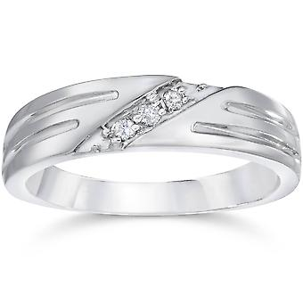 Mens Real Diamond 14k White Gold Wedding Ring Band New