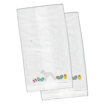 Bedlington Terrier Easter White Embroidered Plush Hand Towel Set of 2