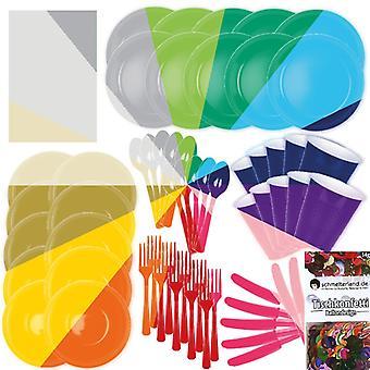 Conjunto de utensílios de mesa de decoração de festa de cor seu pacote de festa festa 15 cores 62-teilig