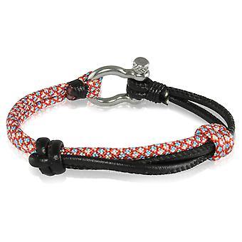 Skipper armbånd surfer band node maritimes armbånd nylon/læder rød farvede/sorte 7235