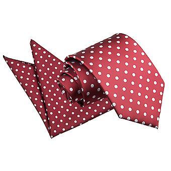 Gravata bordô Polka Dot & conjunto de bolso quadrado