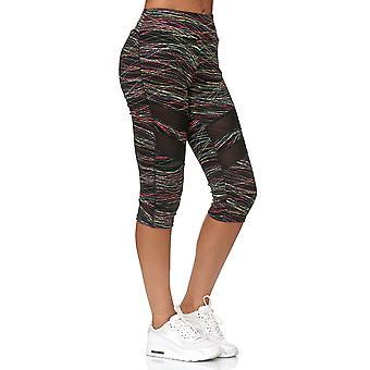 Señoras Malla Capri Pantalones Deporte Treggings 3/4 Fitness Pantalones Bordados Rayas