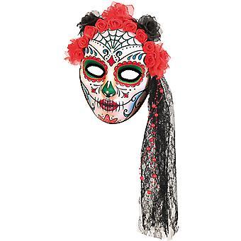 Maske Mexiko Tag der toten Halbmaske Blumen Schleier Halloween
