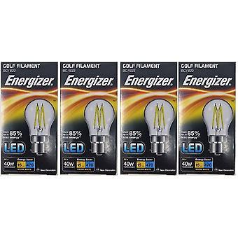 4 X Energizer Filament LED Golf Bulb  BC B22 4W = 40W 470Lumen Warm White Bayonet Cap [Energy Class A+]