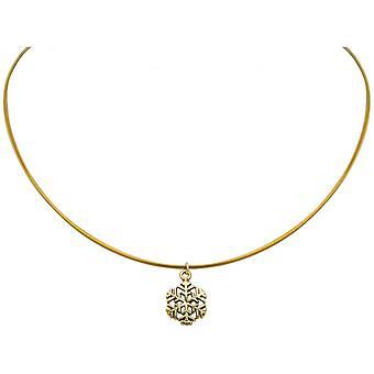 Ladies - collana - ciondoli - fiocco di neve - argento 925 - oro placcato - 1,3 cm