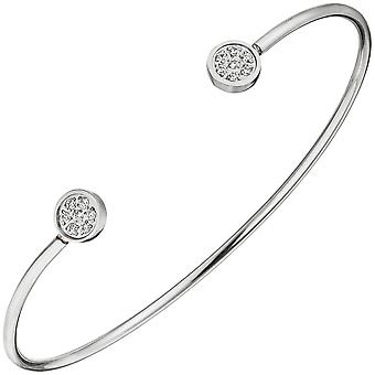 Cuff / open Bangle in stainless steel with 14 cubic zirconia bracelet