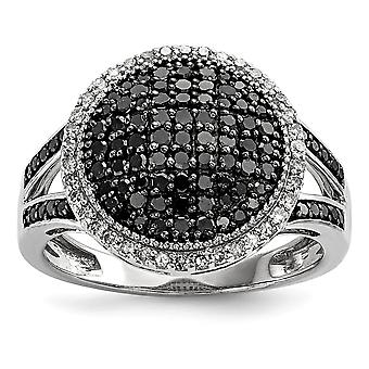 925 Sterling Silver Black and White Diamond Round Ring Jewelry Gifts for Women - Ring Size: 6 to 8