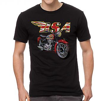 BSA Motorcycles British Flag Men's Black T-shirt