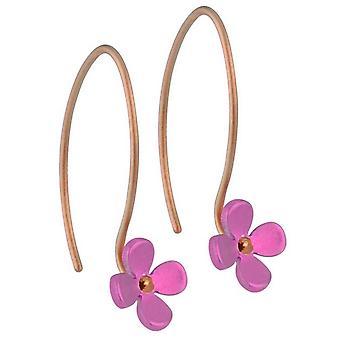 Ti2 Titanium 8mm Four Petal Flower Drop Earrings - Candy Pink