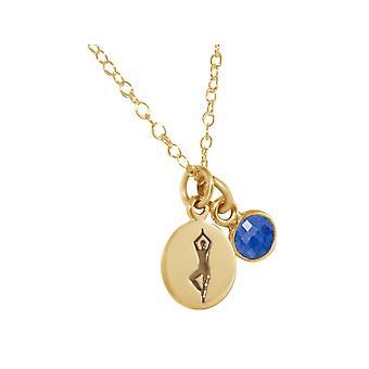 Gemshine YOGA halsband 925 silver, guldpläterad eller Rosen träd träd, blå safir