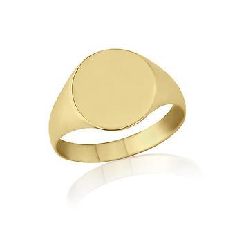 Estrelas do casamento anéis ovais 9ct anel de sinete do peso leve ouro amarelo