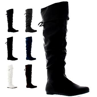 Womens Riding Flat Thigh High Winter Biker Shoes Fashion Tall Pirate Boot UK 3-9