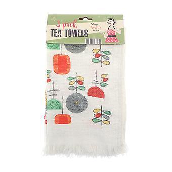 Toalhas de chá do clube de campo utensílios Vintage
