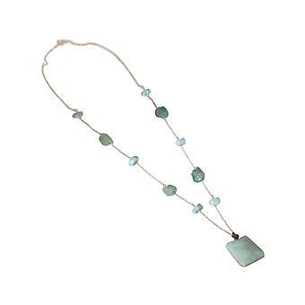 Gemshine Halskette mit Aquamarin Edelsteine 925 Silber oder hochwertig vergoldet