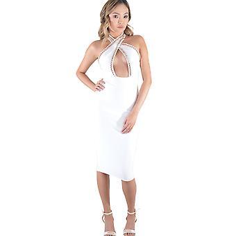 Lovemystyle Halterneck keten Midi jurk In Wit