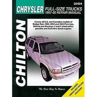 Chilton Chrysler Full-Size lastbilar 1997-01 reparationshandbok: täcker All U.S. och Canandian modeller av: Dodge Ram 1500, 2500 och 3500 Pick-Ups (1997 - 01), Dakota (1997-00) och Durango (1997-00); 2 och 4 Wheel Drive; Bensin och Cummins dieselmotorer