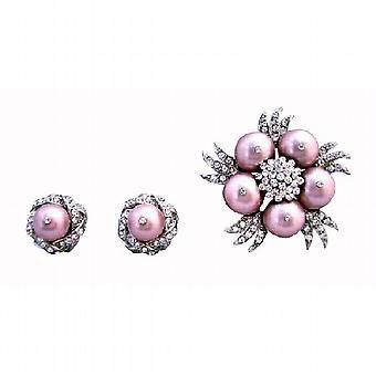 Swarovski порошок Роуз брошь Diamante жемчужины с Серьги ювелирные изделия