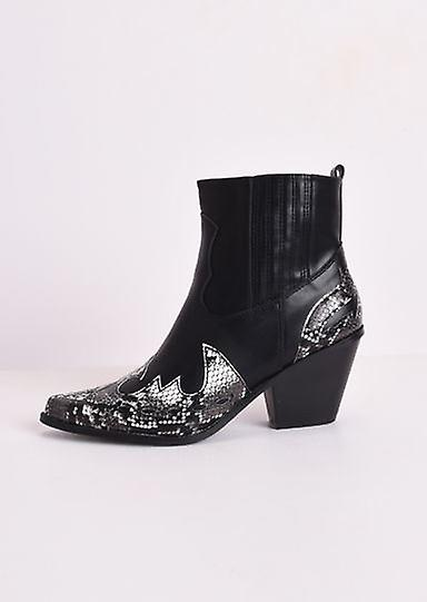 Pointed Snake Print Western Cowboy Block Mid Heeled Ankle Boots Black X2oDW