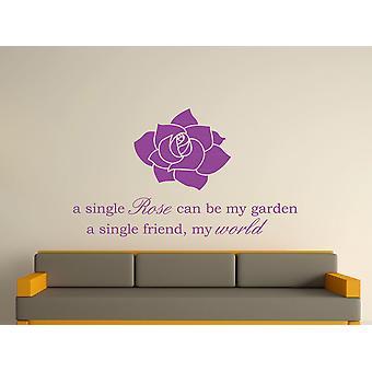 Una sola rosa arte etiqueta de la pared - púrpura