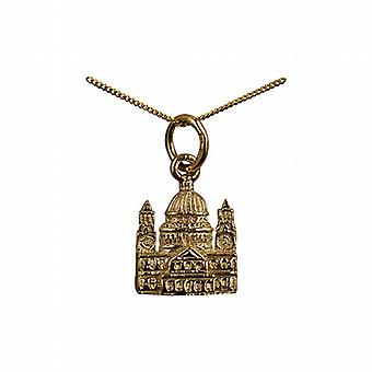 9ct Gold 11x10mm solid St. Paul's Cathedral Pendant with a curb Chain 20 inches