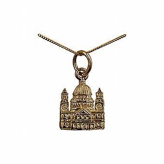 9ct золота 11x10mm твердых Святого Павла собор Кулон с бордюр цепи 20 дюймов