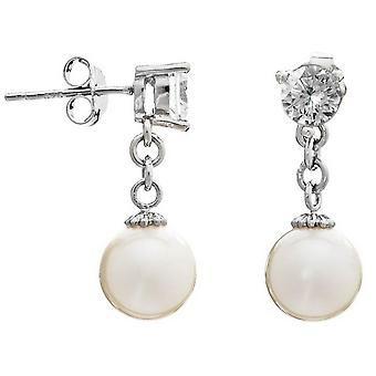 Pearls of the Orient Classic Almost Round Freshwater Pearl Drop Earrings - White/Silver