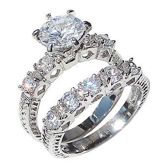 Ah! Jewellery Simulated Diamond Ring Set, Stainless Steel