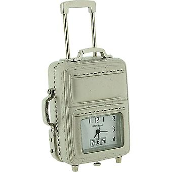 Miniature Silver Plated Cabin Suitcase Luggage Novelty Collectors Clock IMP1059S