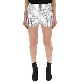 Laneus Shd04argento Women's Silver Patent Leather Shorts