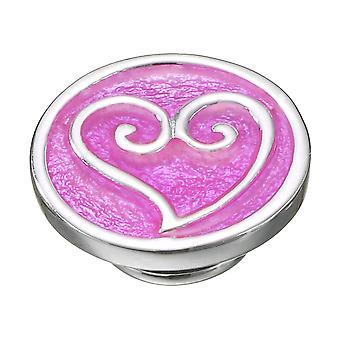 KAMELEON Scrolled Heart Pink Sterling Silver JewelPop KJP352