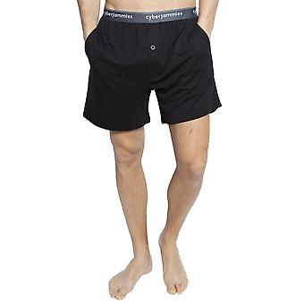 Cyberjammies 6396 mænds Isaac sort bomuld pyjamas kort