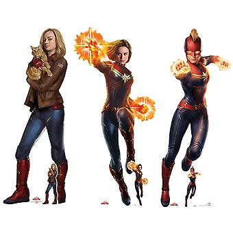 Captain Marvel Carole Danvers Official Cardboard Cutout / Standee Set of 3