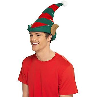 Elf Hat Red & Green with Ears, Christmas Fancy Dress Accessories, One Size