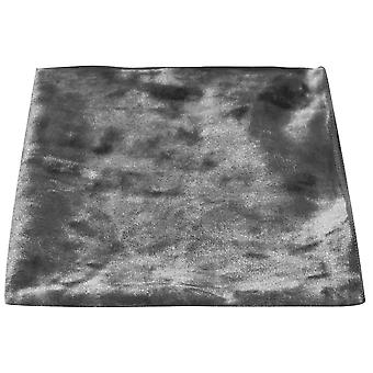 Luxury Silver Crushed Velvet Pocket Square, Handkerchief